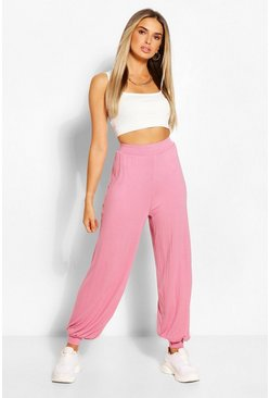 Rose pink Jersey Basic Hareem Trousers