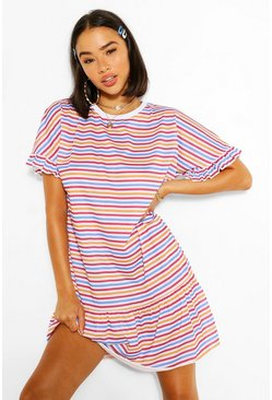 White Rainbow Stripe Drop Hem TShirt Dress