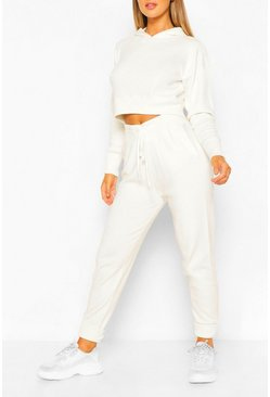 White Knitted Crop Hoody Tracksuit