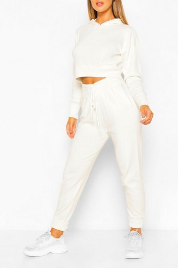 White Knitted Crop Hoody & Jogger Co-ord