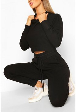 Black Knitted Crop Hoody & Jogger Co-ord