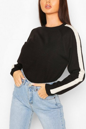 Black Stripe Fine Knit Jumper