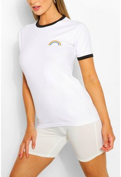 Black RAINBOW POCKET PRINT RINGER TSHIRT