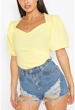 Lemon Pleated Sleeve Sweetheart Neck Top