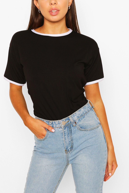 TOPS Black Ringer T-Shirt