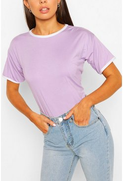 Lilac purple Ringer T-Shirt