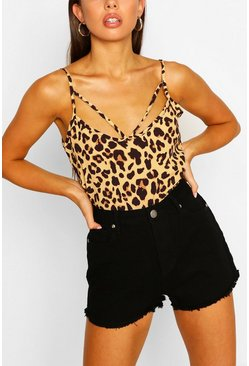 Brown Leopard Print Cut Out Cami Top
