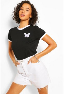 Black Butterfly Pocket Print Ringer T-Shirt