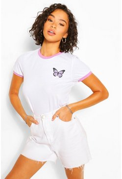 White Butterfly Pocket Print Ringer T-Shirt