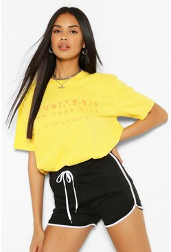 Lemon yellow Woman New York Print T-Shirt