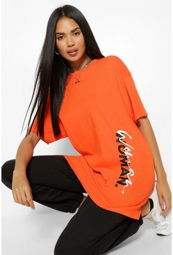 Orange Woman Side Print T-Shirt