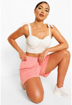 Pink Shirred Waist Basic Jersey Flippy Shorts