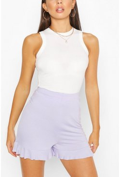 Lilac purple Basic Ruffle Hem Jersey Flippy Shorts