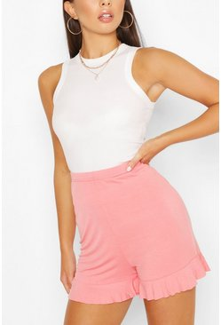 Rose pink Basic Ruffle Hem Jersey Flippy Shorts