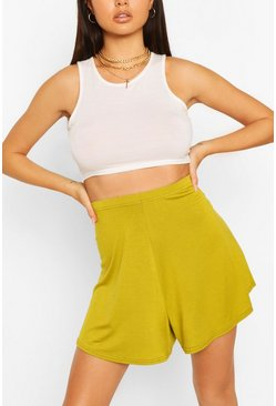 Olive Basic Jersey Flippy Shorts