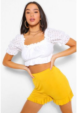 Mustard yellow Basic Ruffle Hem Jersey Flippy Shorts