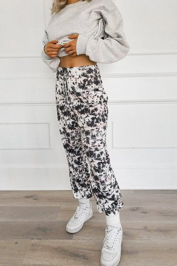 Black Mono Tie Dye Relaxed Joggers