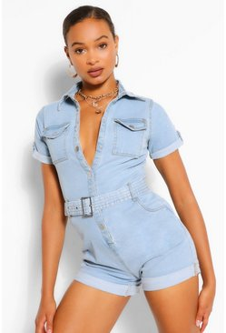 Light blue blue Denim Belted Romper