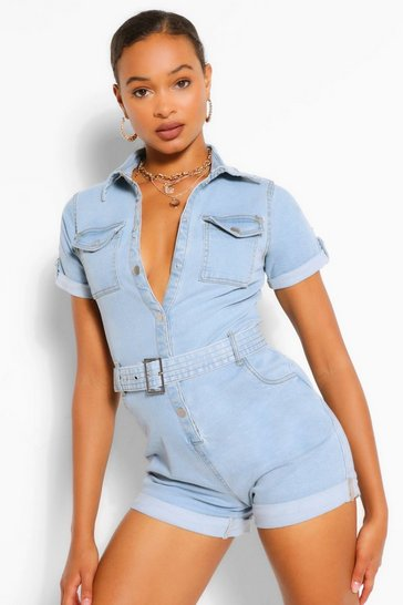 Light blue Denim Belted Playsuit