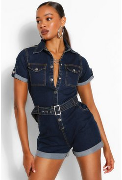 Mid wash blue Denim Belted Playsuit