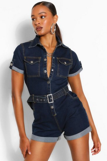 Mid wash Denim Belted Playsuit