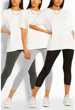 Black svart Basic leggings med hög midja (3-pack)