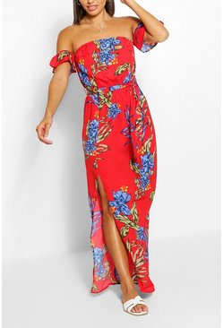 Red Floral Print Off The Shoulder Maxi Dress