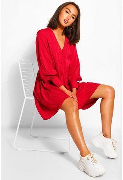 Berry red V-Neck Button Detail Smock Dress