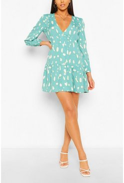Blue Smudge Print Long Sleeve Tiered Smock Dress