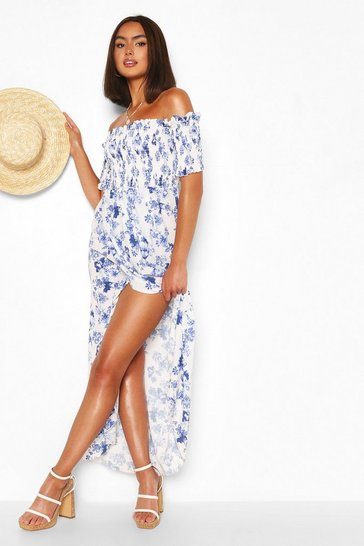 White Floral Shirred Off The Shoulder Wrap Maxi Dress
