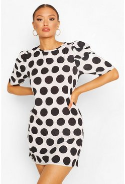 White Polka Dot Puff Sleeve Shift Dress