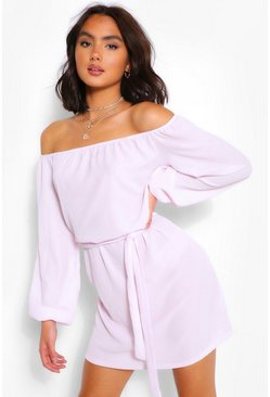 Lilac purple Off Shoulder Belted Shift Dress