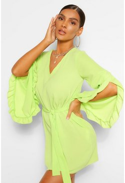 Lime green V Neck Wide Sleeve Shift Dress