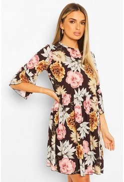 Black Large Floral Print Frill Sleeve Smock Dress