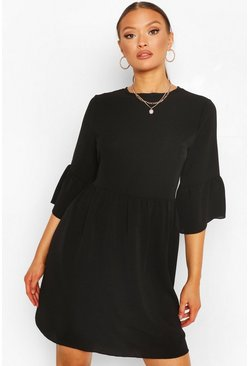 Black Frill Sleeve Smock Dress