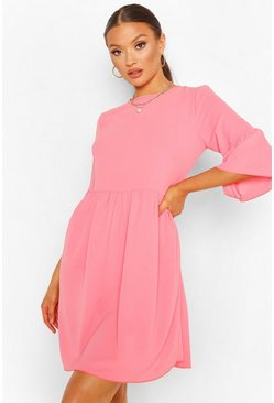 Coral Frill Sleeve Smock Dress