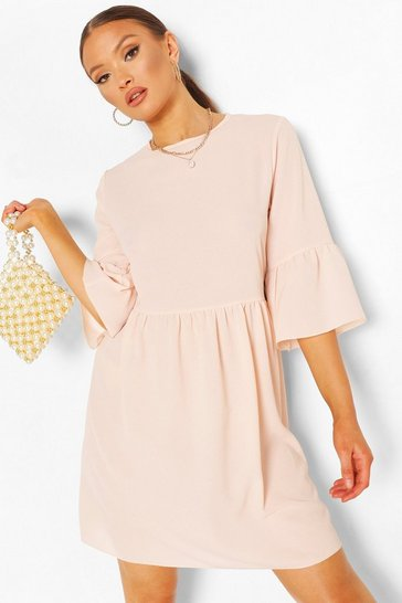 Nude Frill Sleeve Smock Dress