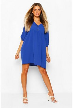 Cobalt Horn Button Through Smock Dress