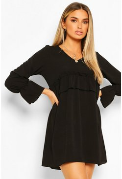 Black Woven Ruffle Waist Oversized Smock Dress