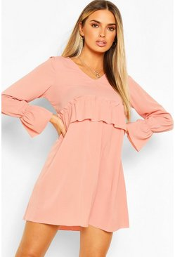 Blush pink Woven Ruffle Waist Oversized Smock Dress