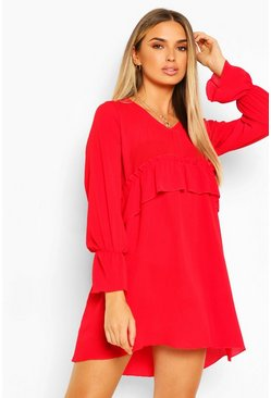 Red Woven Ruffle Waist Oversized Smock Dress