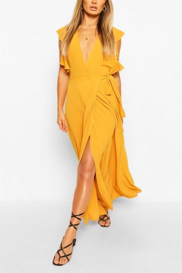 Mustard yellow Frill Detail Tie Waist Split Leg Maxi Dress