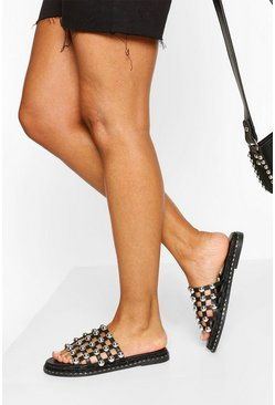 Black Studded Cutwork Sliders