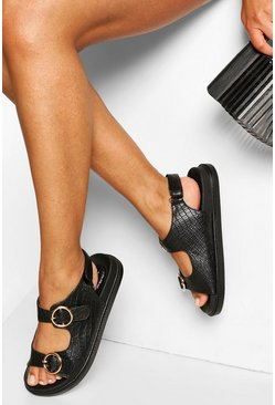 Black Croc Buckle Detail Chunky Sandals