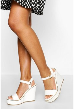 White Croc Effect Peeptoe Wedge