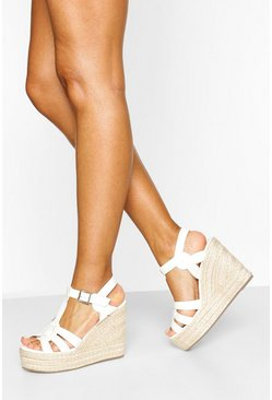 White Woven Front Espadrille Wedge