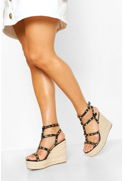 Black svart Studded Espadrille Wedge