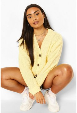 Lemon yellow Cable Knit Crop V Neck Cardigan