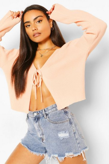 Apricot nude Lace Up Crop Rib Cardigan