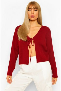 Berry red Lace Up Crop Rib Cardigan